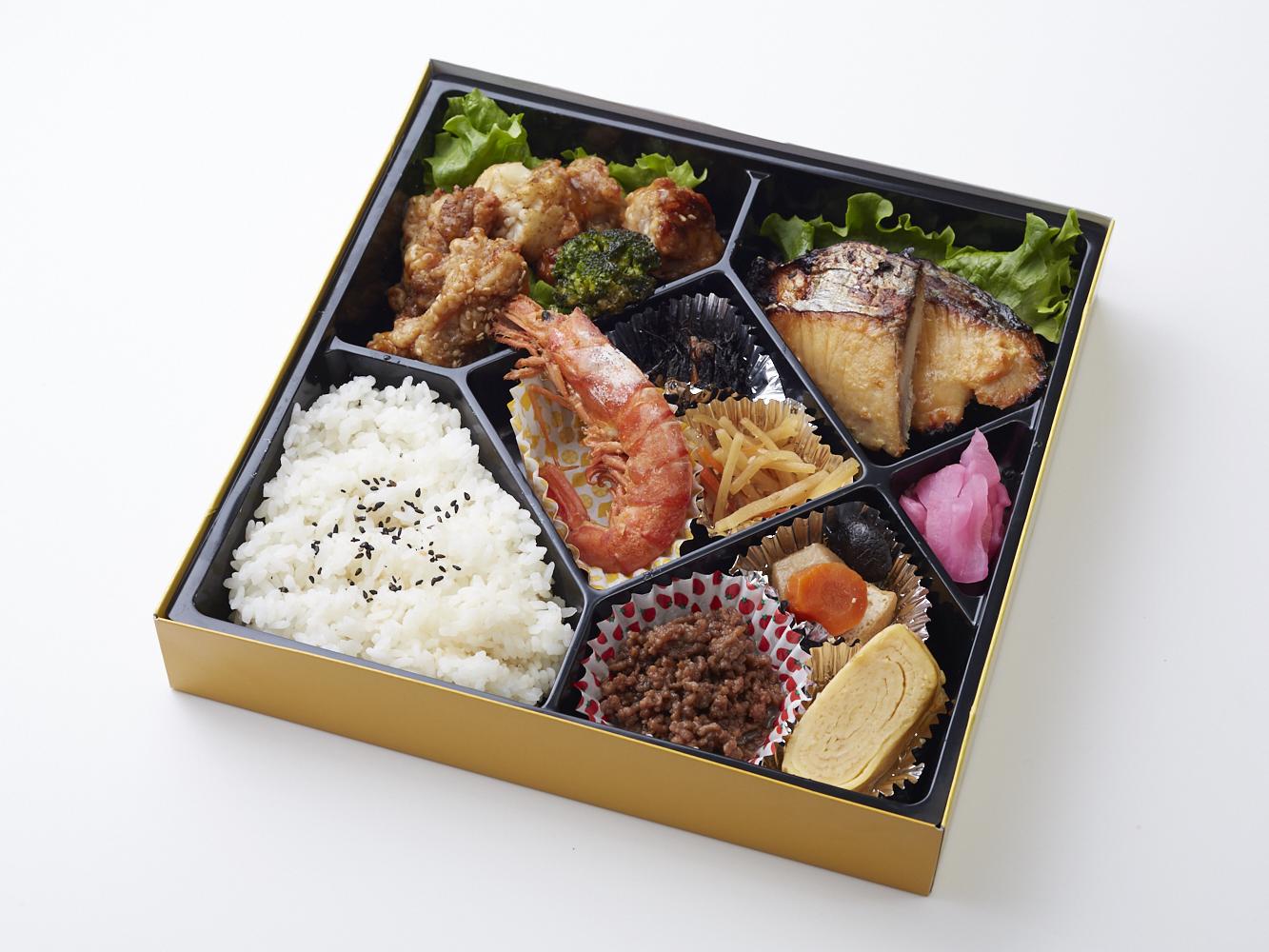 匠の大山鶏と季節野菜のカラーゲ&選べる魚の西京焼き弁当